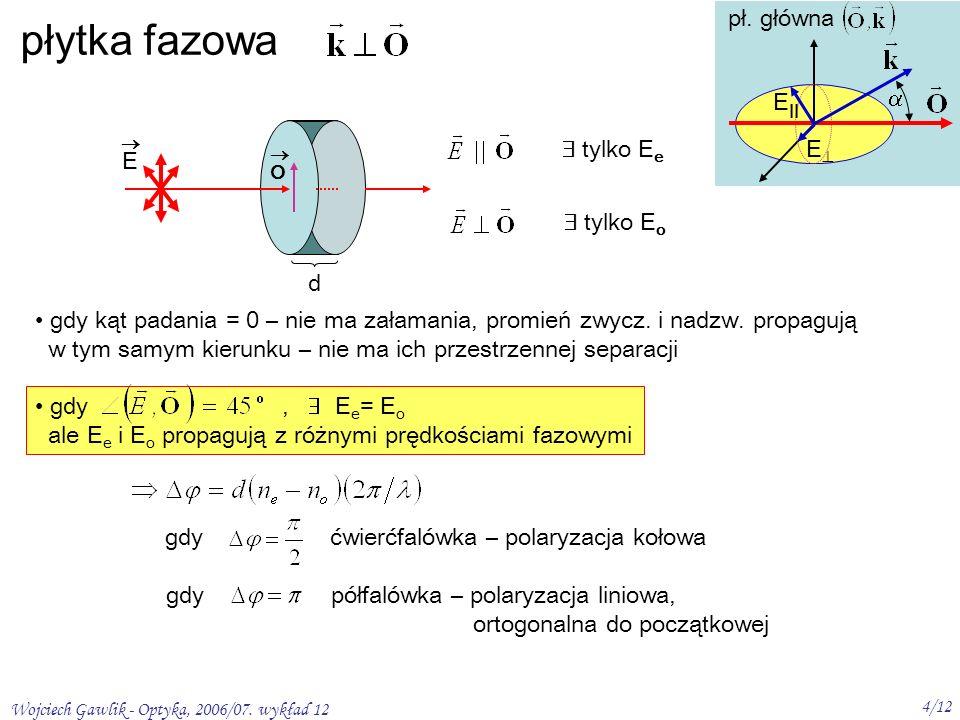 Wojciech Gawlik - Optyka, 2006/07. wykład 12 4/12 gdy, E e = E o ale E e i E o propagują z różnymi prędkościami fazowymi płytka fazowa tylko E e tylko