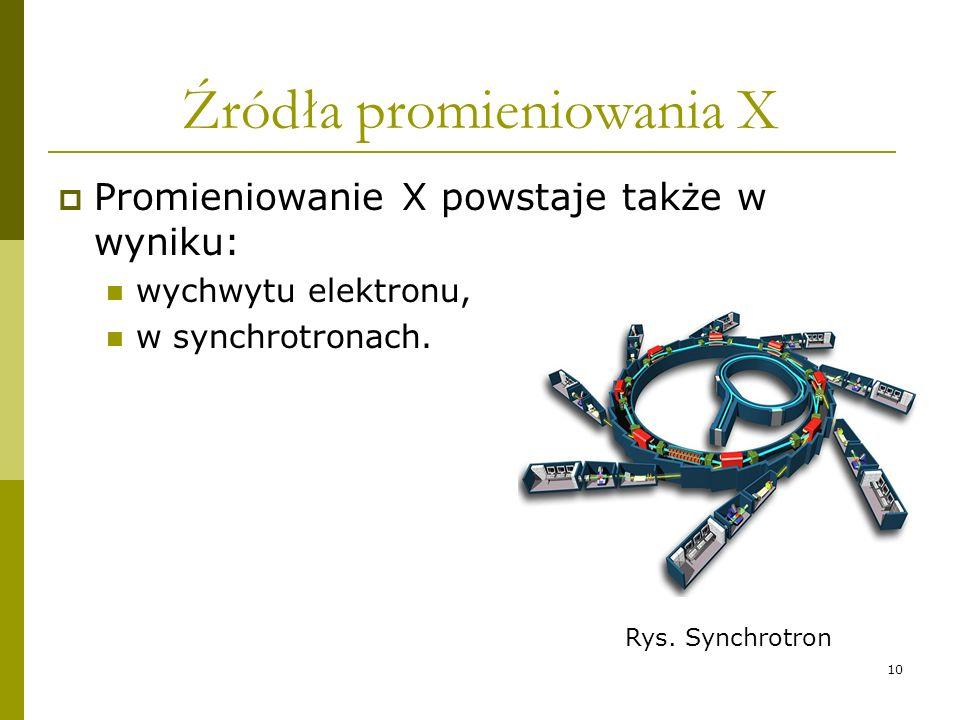10 Źródła promieniowania X Promieniowanie X powstaje także w wyniku: wychwytu elektronu, w synchrotronach. Rys. Synchrotron