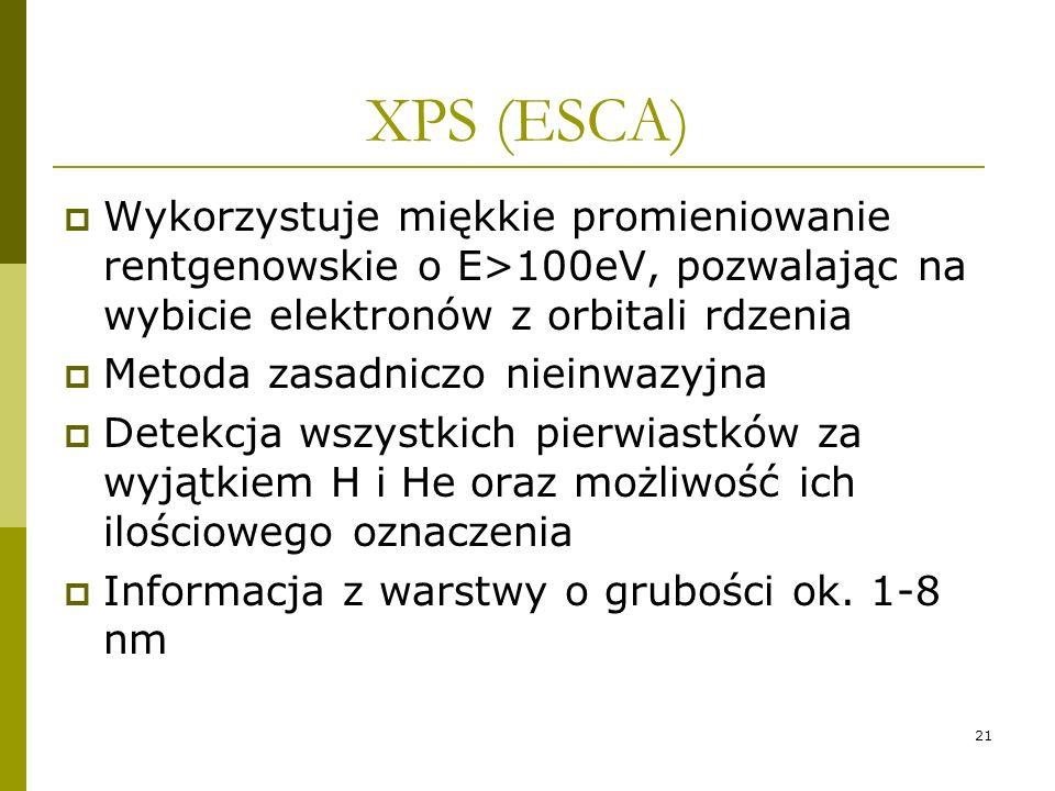 21 XPS (ESCA) Wykorzystuje miękkie promieniowanie rentgenowskie o E>100eV, pozwalając na wybicie elektronów z orbitali rdzenia Metoda zasadniczo niein