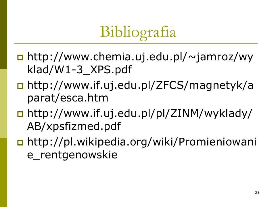 23 Bibliografia http://www.chemia.uj.edu.pl/~jamroz/wy klad/W1-3_XPS.pdf http://www.if.uj.edu.pl/ZFCS/magnetyk/a parat/esca.htm http://www.if.uj.edu.p