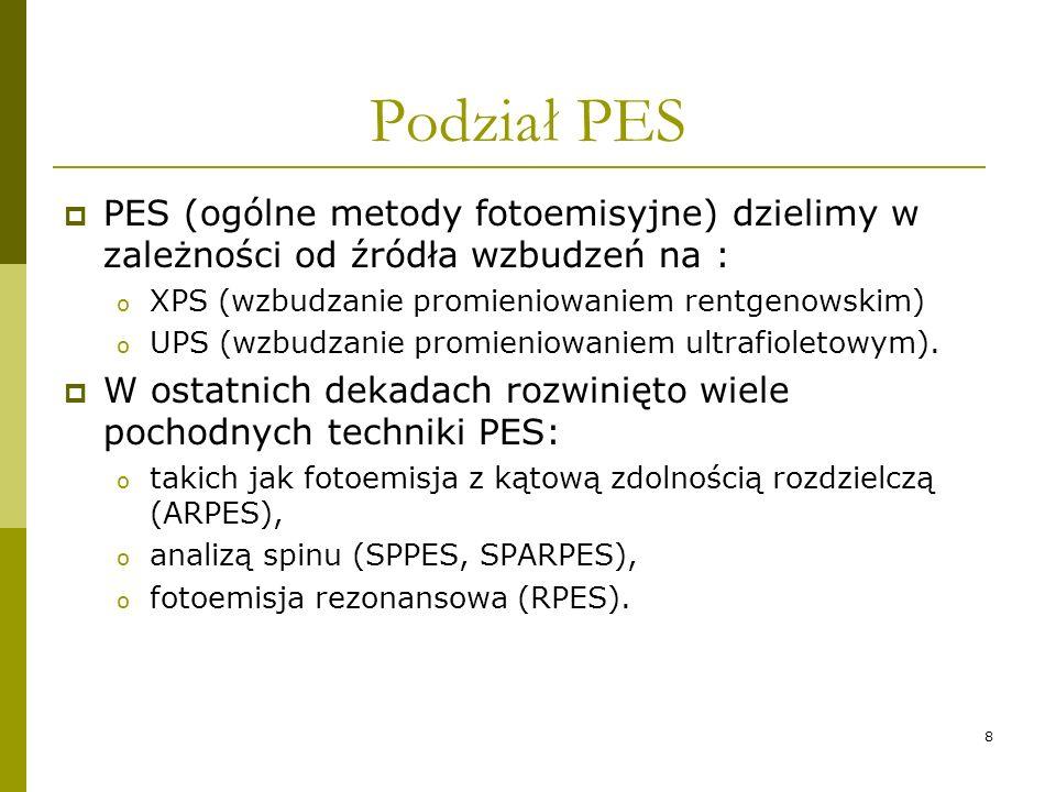 8 Podział PES PES (ogólne metody fotoemisyjne) dzielimy w zależności od źródła wzbudzeń na : o XPS (wzbudzanie promieniowaniem rentgenowskim) o UPS (w