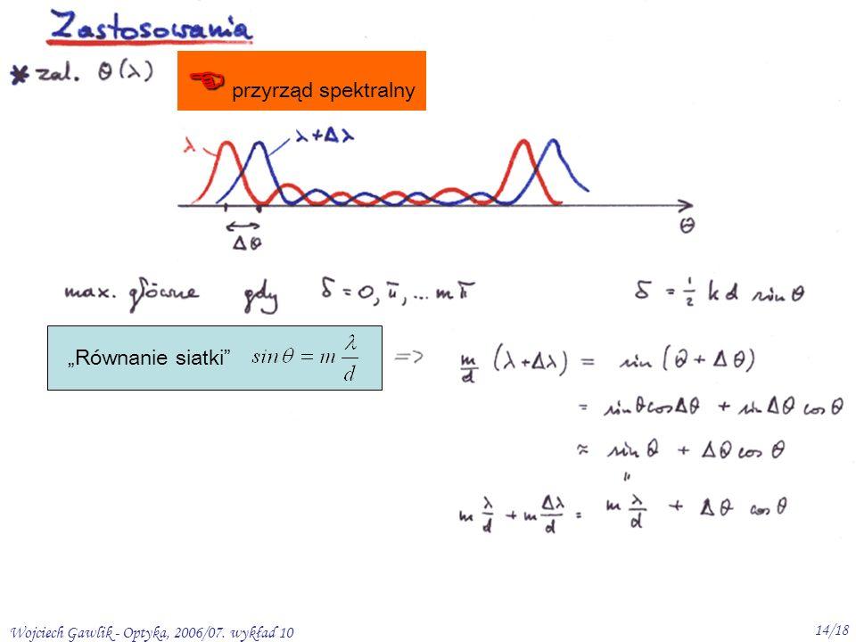 Wojciech Gawlik - Optyka, 2006/07. wykład 10 14/18 przyrząd spektralny Równanie siatki