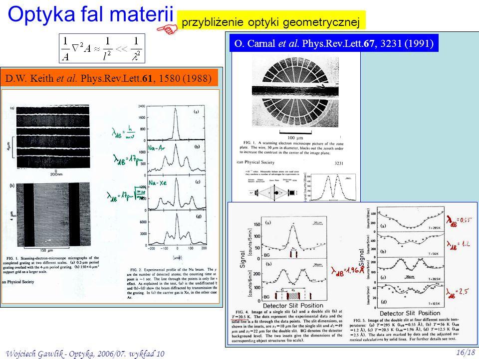 Wojciech Gawlik - Optyka, 2006/07. wykład 10 16/18 Optyka fal materii przybliżenie optyki geometrycznej O. Carnal et al. Phys.Rev.Lett.67, 3231 (1991)