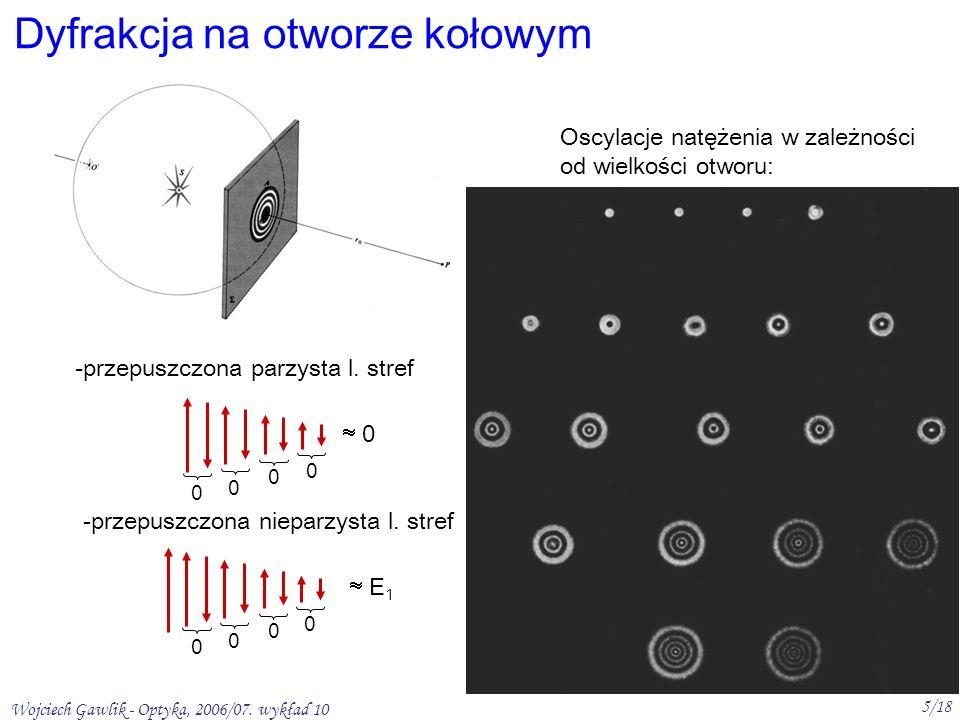 Wojciech Gawlik - Optyka, 2006/07. wykład 10 5/18 Dyfrakcja na otworze kołowym Oscylacje natężenia w zależności od wielkości otworu: -przepuszczona pa