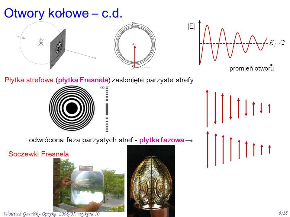 Wojciech Gawlik - Optyka, 2006/07. wykład 10 6/18 Płytka strefowa (płytka Fresnela) zasłonięte parzyste strefy Soczewki Fresnela Otwory kołowe – c.d.