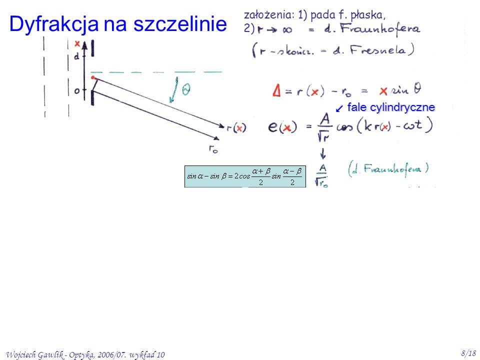 Wojciech Gawlik - Optyka, 2006/07. wykład 10 8/18 Dyfrakcja na szczelinie fale cylindryczne założenia: 1) pada f. płaska, 2)