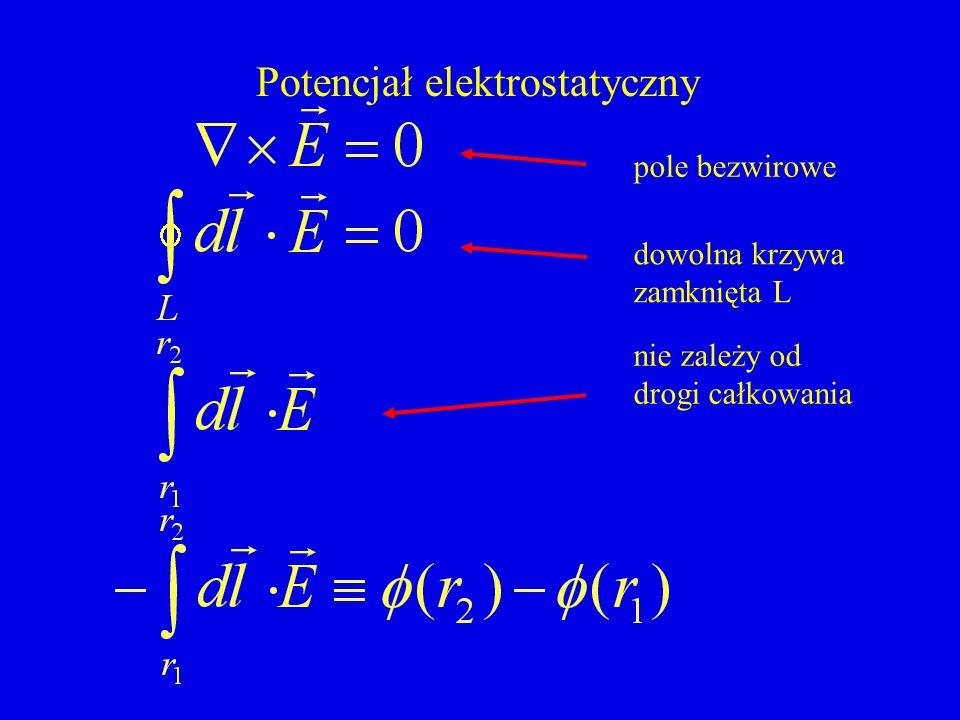 Potencjał elektrostatyczny pole bezwirowe dowolna krzywa zamknięta L nie zależy od drogi całkowania