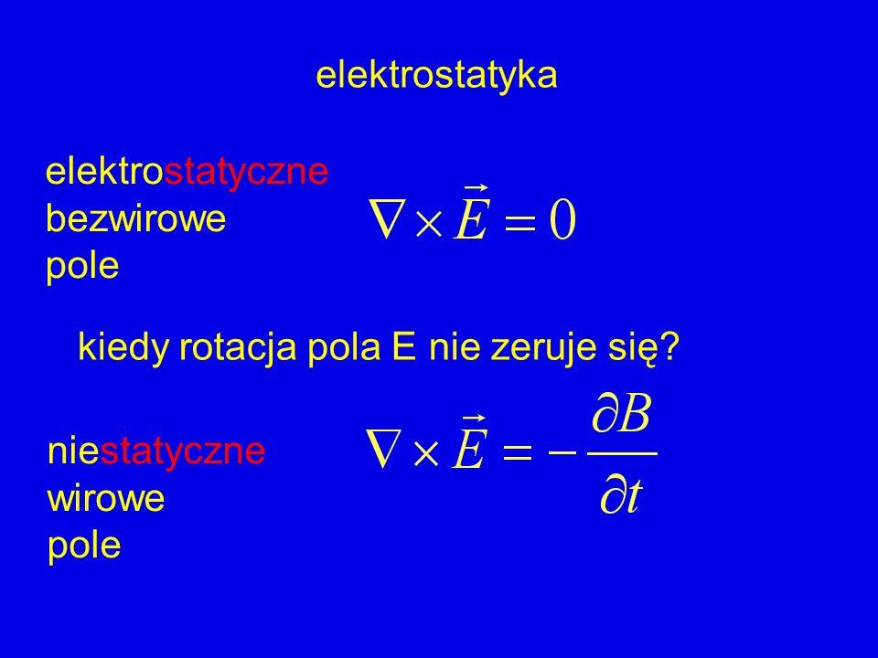 elektrostatyczne bezwirowe pole kiedy rotacja pola E nie zeruje się? niestatyczne wirowe pole elektrostatyka