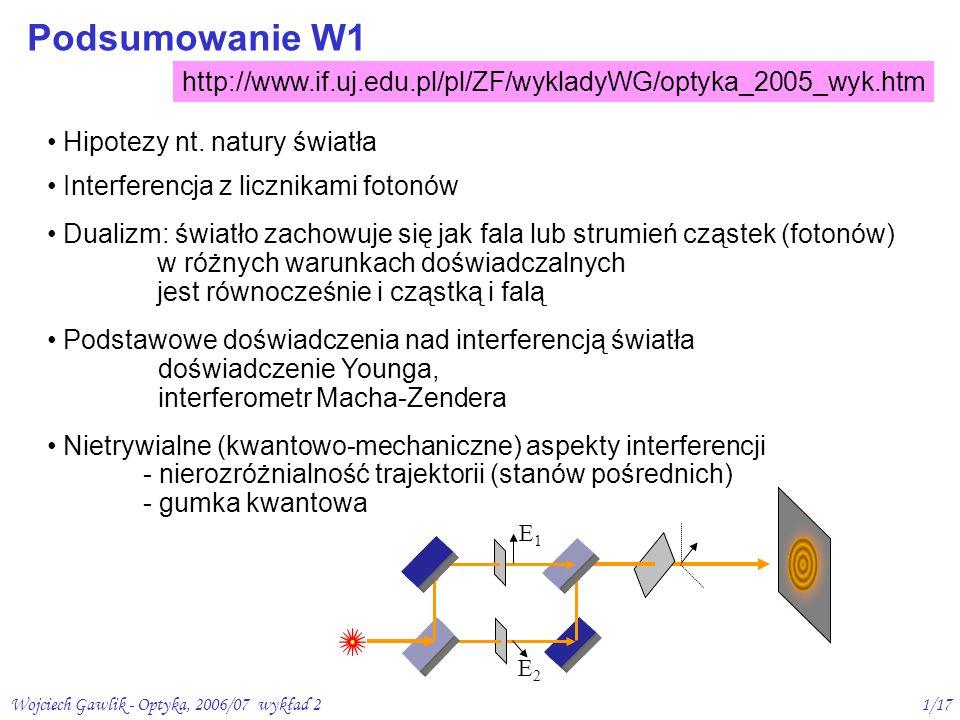 Wojciech Gawlik - Optyka, 2006/07 wykład 22/17 p a s m o w i d z i a l n e (VIS) 380 nm700 nm 3 m 200 nm1 nm 30 m 1mm nadfiolet (UV) bliska średnia daleka p o d c z e r w i e ń (IR) Pasmo optyczne energie fotonów optycznych E = h = (6,6x10 -34 Js) x (4-8)x10 14 Hz = 2,6 – 5,2 x 10 -19 J = 1,6 – 3,2 eV różnice poziomów energetycznych w atomach prom.