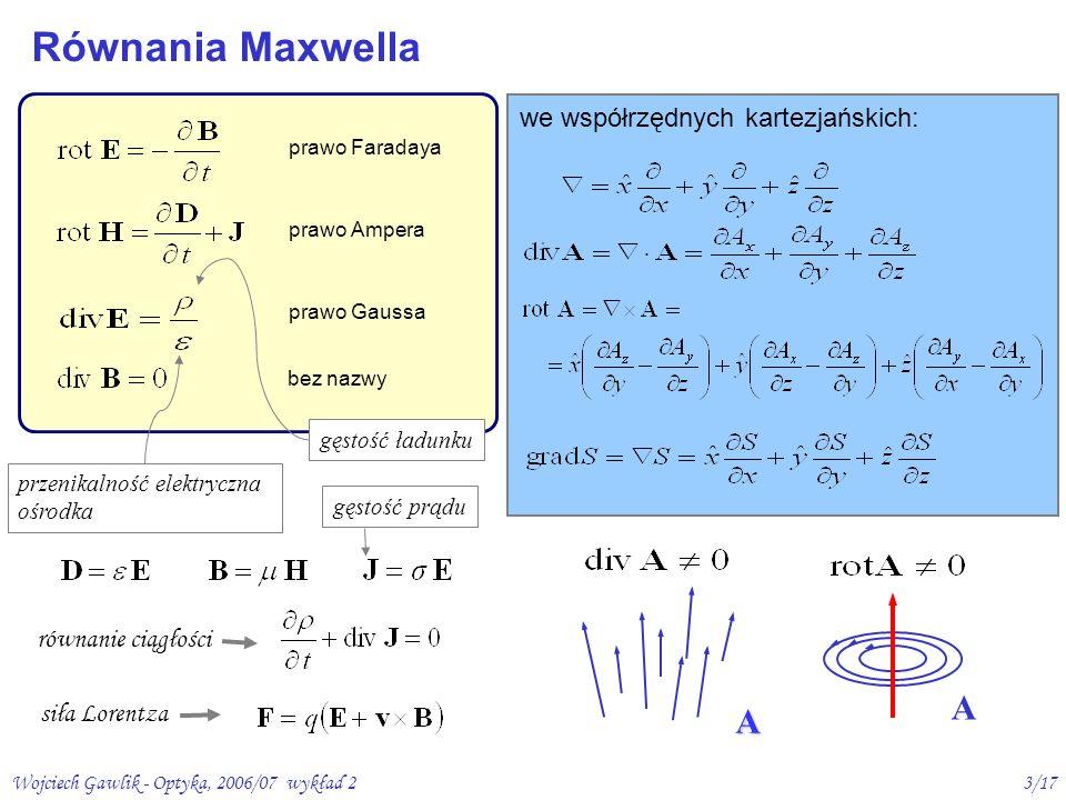 Wojciech Gawlik - Optyka, 2006/07 wykład 23/17 równanie ciągłości prawo Faradaya prawo Ampera prawo Gaussa we współrzędnych kartezjańskich: siła Loren