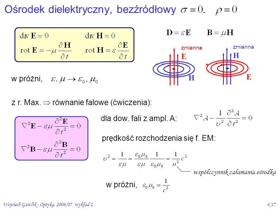 Wojciech Gawlik - Optyka, 2006/07 wykład 25/17 propagacja zaburzeń elektromagnetycznych w przestrzeni H H H H EEE fala płaska, harmoniczna – najprostsza forma fal (EM) wektor falowy monochromatyczna fala biegnąca w kierunku k, periodyczna w czasie i przestrzeni Fala elektromagnetyczna (EM) Dipol Hertza: