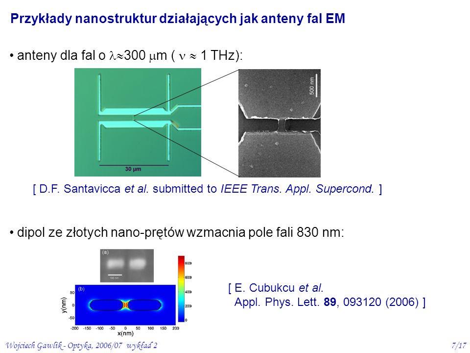 Wojciech Gawlik - Optyka, 2006/07 wykład 27/17 [ E. Cubukcu et al. Appl. Phys. Lett. 89, 093120 (2006) ] [ D.F. Santavicca et al. submitted to IEEE Tr