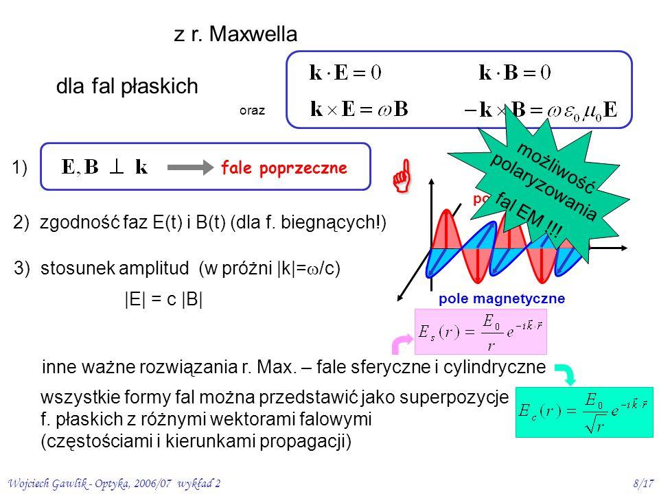 Wojciech Gawlik - Optyka, 2006/07 wykład 29/17 Fale EM przenoszą energię gęstość strumienia energii = gęstość energii x prędkość jej transportu wektor Poyntinga: S (na pow.