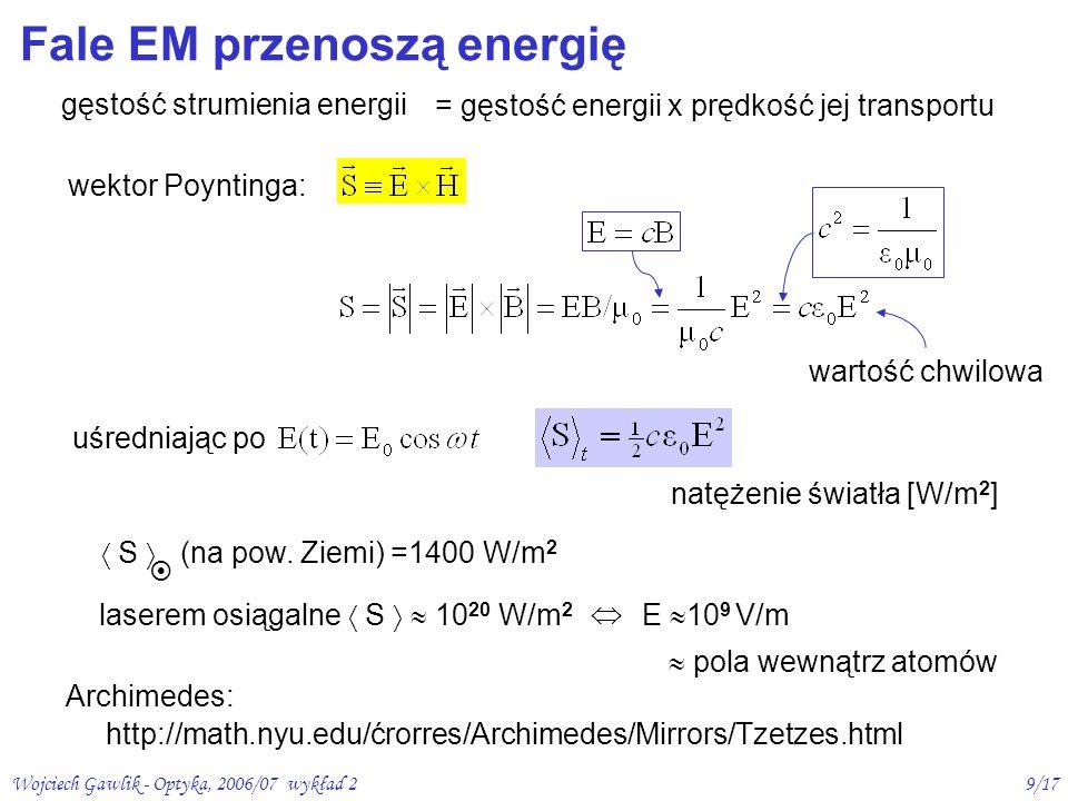 Wojciech Gawlik - Optyka, 2006/07 wykład 210/17 Fale EM przenoszą pęd elektron E H k siła Lorentza przyspieszenie elektronu przez pole E v 0 v B = praca wykonana przez E na przyspieszenie ładunku w 1 sek kwanty: - Strumień N fotonów niesie pęd W/c - Energia N fotonów: W= N ħ = N h - Pęd pojedynczego fotonu p = ħ /c= ħ k