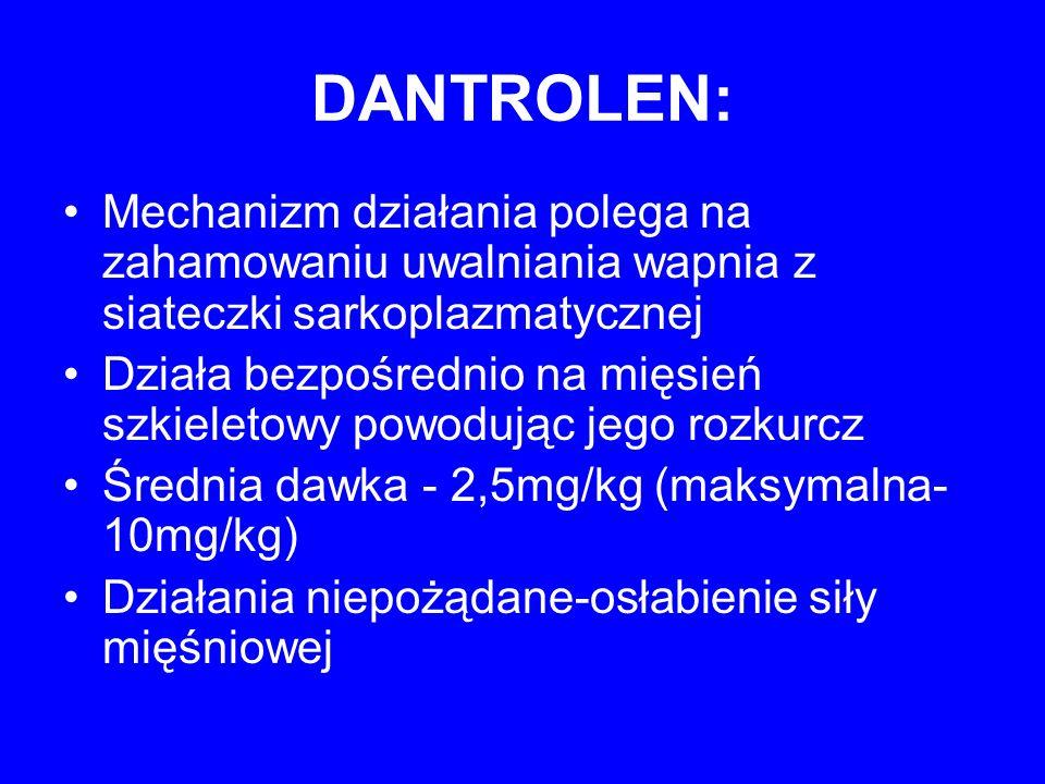 DANTROLEN: Mechanizm działania polega na zahamowaniu uwalniania wapnia z siateczki sarkoplazmatycznej Działa bezpośrednio na mięsień szkieletowy powod