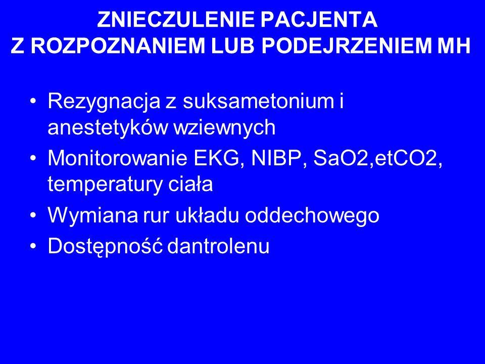ZNIECZULENIE PACJENTA Z ROZPOZNANIEM LUB PODEJRZENIEM MH Rezygnacja z suksametonium i anestetyków wziewnych Monitorowanie EKG, NIBP, SaO2,etCO2, tempe