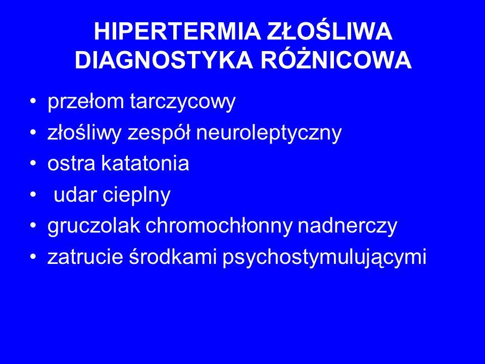 HIPERTERMIA ZŁOŚLIWA DIAGNOSTYKA RÓŻNICOWA przełom tarczycowy złośliwy zespół neuroleptyczny ostra katatonia udar cieplny gruczolak chromochłonny nadn