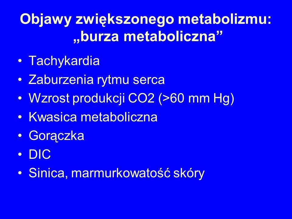 Hipertermia złośliwa Najbardziej jednoznacznym objawem jest gwałtowny wzrost końcowo-wydechowego stężenia CO2 w kapnografii.