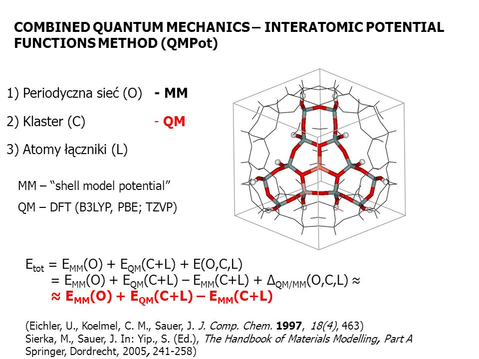 1) Periodyczna sieć (O) - MM 2) Klaster (C) - QM 3) Atomy łączniki (L) E tot = E MM (O) + E QM (C+L) + E(O,C,L) = E MM (O) + E QM (C+L) – E MM (C+L) +
