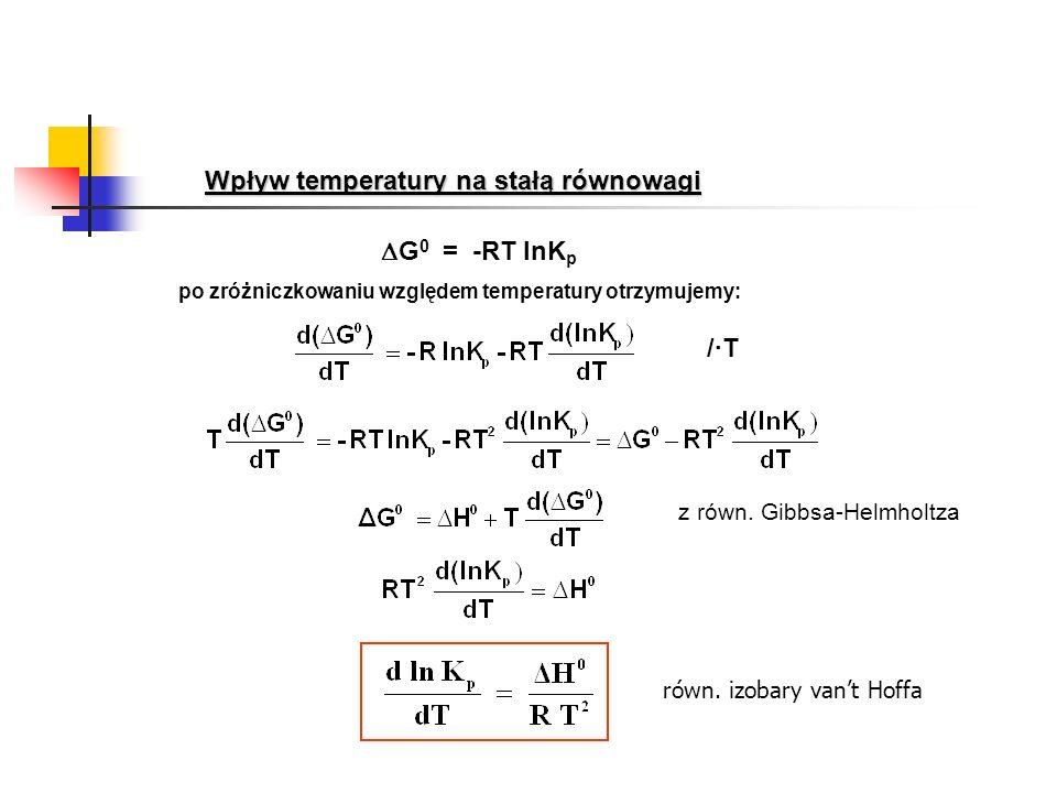 Wpływ temperatury na stałą równowagi G 0 = -RT lnK p z równ. Gibbsa-Helmholtza /·T/·T po zróżniczkowaniu względem temperatury otrzymujemy: równ. izoba