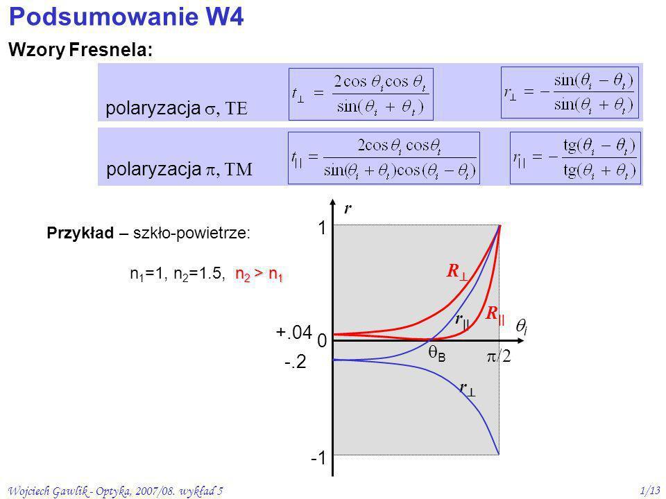 Wojciech Gawlik - Optyka, 2007/08. wykład 5 1/13 Podsumowanie W4 Wzory Fresnela: polaryzacja r 1 0 /2 i -.2 +.04 r r R R B Przykład – szkło-powietrze: