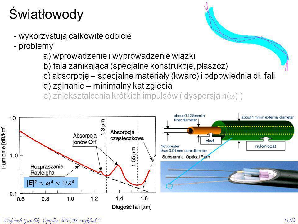 Wojciech Gawlik - Optyka, 2007/08. wykład 5 11/13 Światłowody - wykorzystują całkowite odbicie - problemy a) wprowadzenie i wyprowadzenie wiązki b) fa