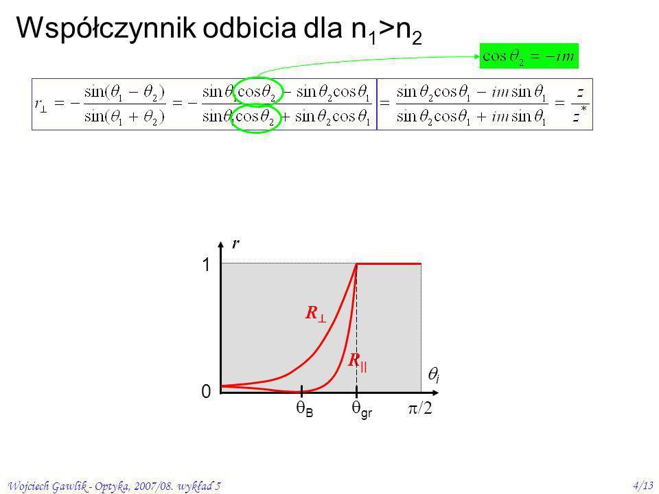Wojciech Gawlik - Optyka, 2007/08. wykład 5 4/13 Współczynnik odbicia dla n 1 >n 2 r 1 0 /2 i R R B gr podobnie dla r || więc |R, || | 2 = rr * całkow