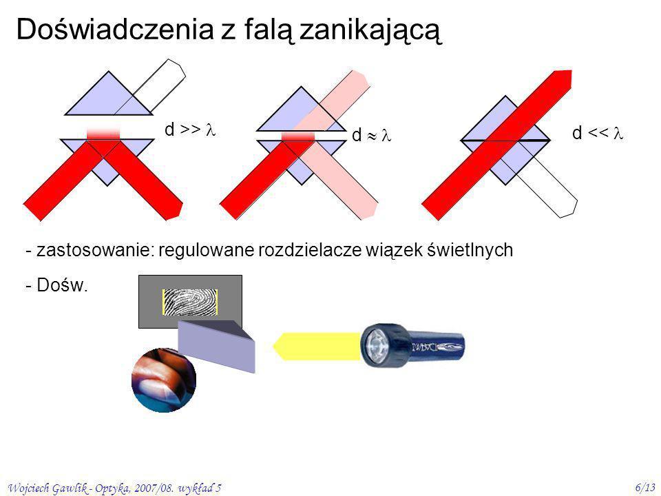 Wojciech Gawlik - Optyka, 2007/08. wykład 5 6/13 Doświadczenia z falą zanikającą - zastosowanie: regulowane rozdzielacze wiązek świetlnych - Dośw. d d