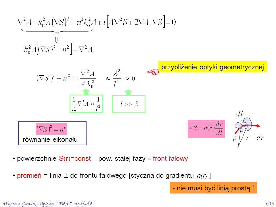 Wojciech Gawlik - Optyka, 2006/07. wykład 63/16 równanie eikonału powierzchnie S(r)=const – pow.