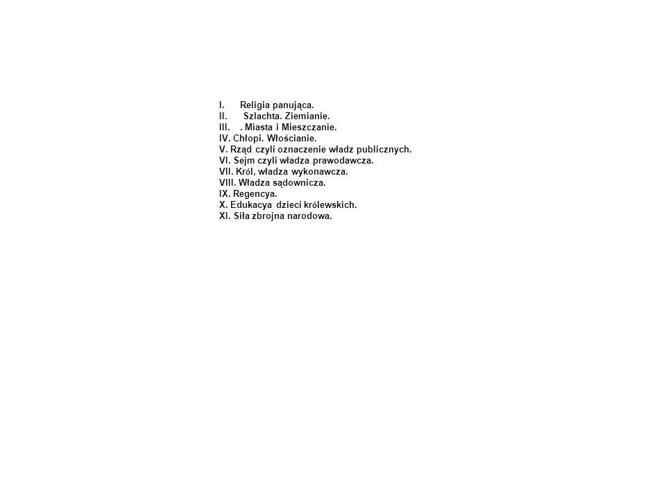 I.Religia panująca. II. Szlachta. Ziemianie. III.. Miasta i Mieszczanie. IV. Chłopi. Włościanie. V. Rząd czyli oznaczenie władz publicznych. VI. Sejm