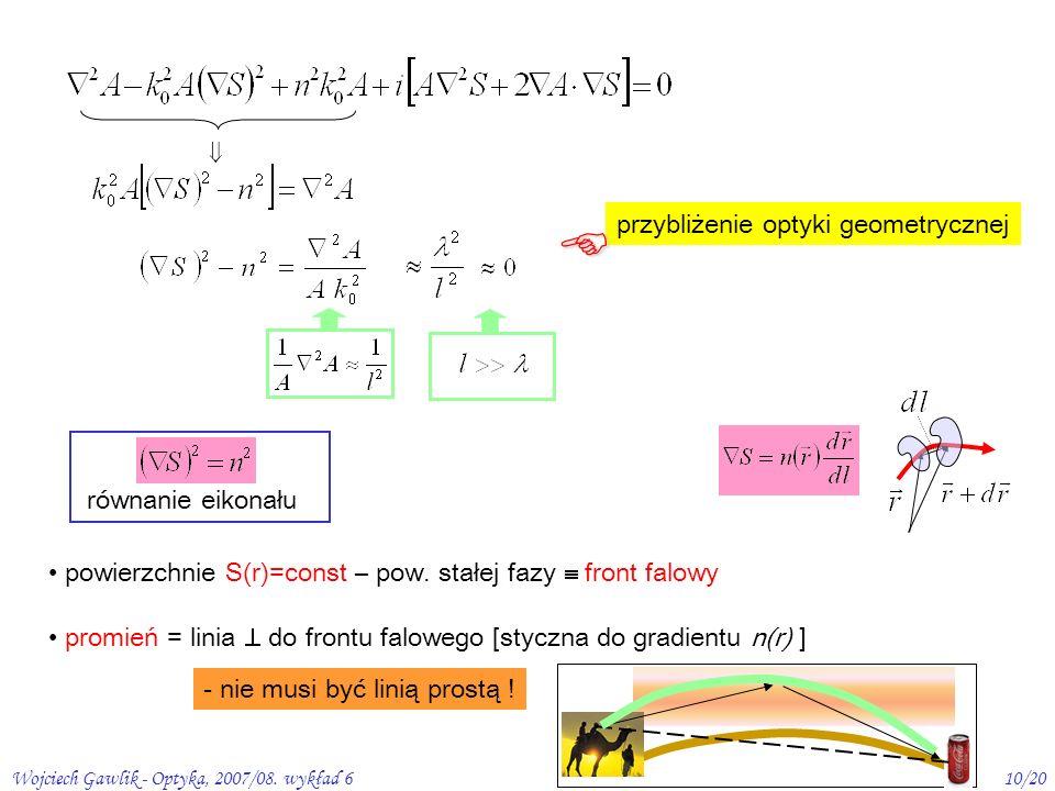 Wojciech Gawlik - Optyka, 2007/08. wykład 610/20 równanie eikonału powierzchnie S(r)=const – pow. stałej fazy front falowy promień = linia do frontu f