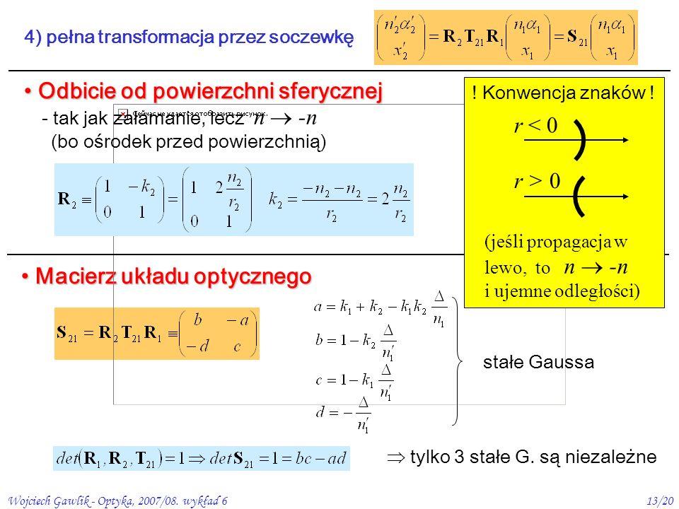 Wojciech Gawlik - Optyka, 2007/08. wykład 613/20 Odbicie od powierzchni sferycznej Odbicie od powierzchni sferycznej 4) pełna transformacja przez socz