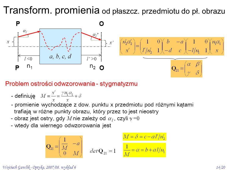 Wojciech Gawlik - Optyka, 2007/08. wykład 614/20 Transform. promienia od płaszcz. przedmiotu do pł. obrazu PO 1 x 2 x l <0l >0l >0 n1n1 n2n2 a, b, c,