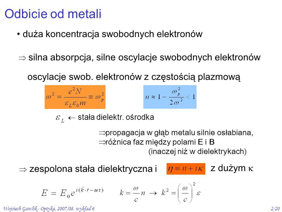 Wojciech Gawlik - Optyka, 2007/08. wykład 62/20 Odbicie od metali duża koncentracja swobodnych elektronów zespolona stała dielektryczna i z dużym prop
