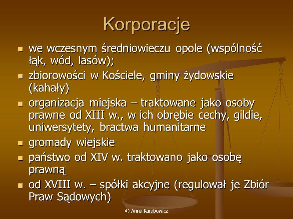 © Anna Karabowicz Korporacje we wczesnym średniowieczu opole (wspólność łąk, wód, lasów); we wczesnym średniowieczu opole (wspólność łąk, wód, lasów);