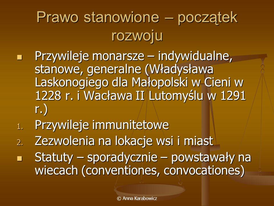 © Anna Karabowicz Prawo stanowione – początek rozwoju Przywileje monarsze – indywidualne, stanowe, generalne (Władysława Laskonogiego dla Małopolski w