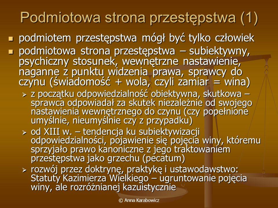 © Anna Karabowicz Podmiotowa strona przestępstwa (1) podmiotem przestępstwa mógł być tylko człowiek podmiotem przestępstwa mógł być tylko człowiek pod