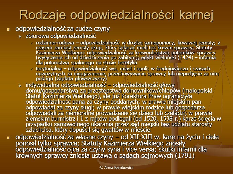 © Anna Karabowicz Rodzaje odpowiedzialności karnej odpowiedzialność za cudze czyny odpowiedzialność za cudze czyny zbiorowa odpowiedzialność zbiorowa