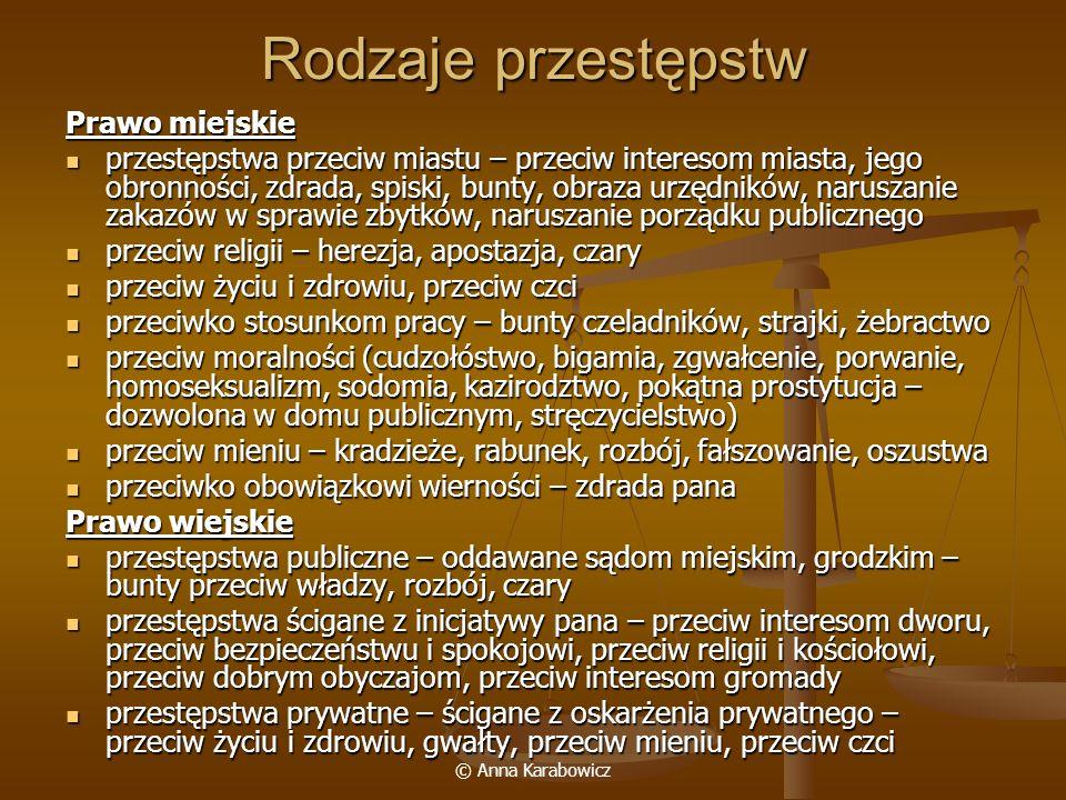 © Anna Karabowicz Rodzaje przestępstw Prawo miejskie przestępstwa przeciw miastu – przeciw interesom miasta, jego obronności, zdrada, spiski, bunty, o