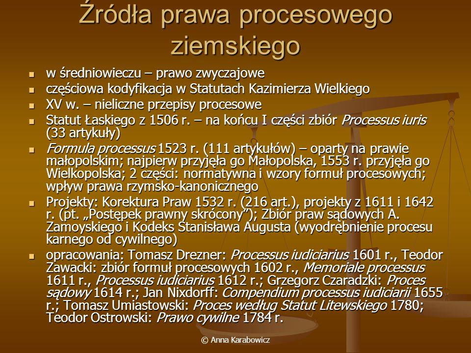 © Anna Karabowicz Źródła prawa procesowego ziemskiego w średniowieczu – prawo zwyczajowe w średniowieczu – prawo zwyczajowe częściowa kodyfikacja w St
