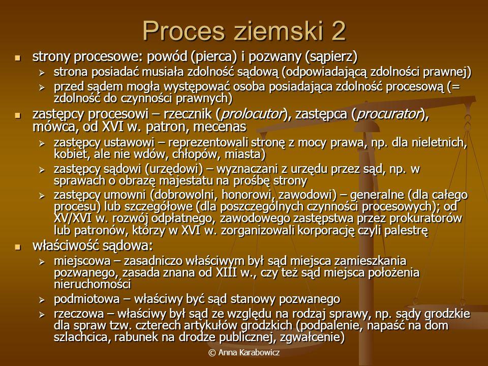 © Anna Karabowicz Proces ziemski 2 strony procesowe: powód (pierca) i pozwany (sąpierz) strony procesowe: powód (pierca) i pozwany (sąpierz) strona po