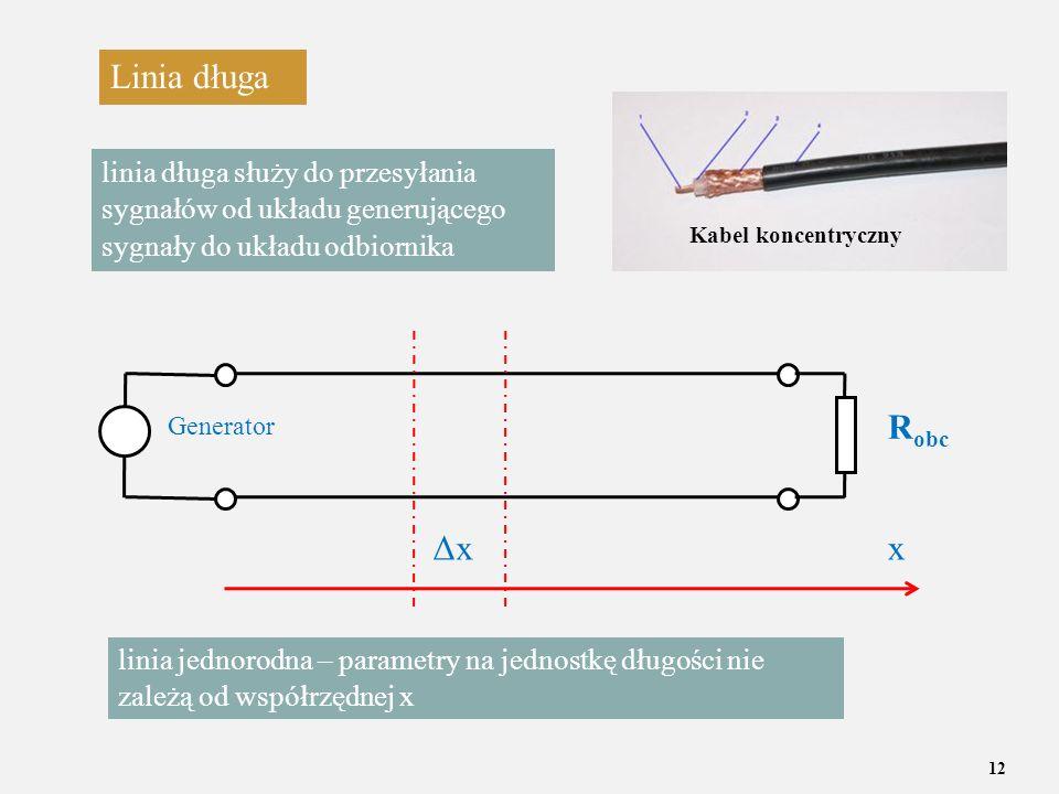 12 Linia długa linia długa służy do przesyłania sygnałów od układu generującego sygnały do układu odbiornika R obc Generator ΔxΔxx linia jednorodna –