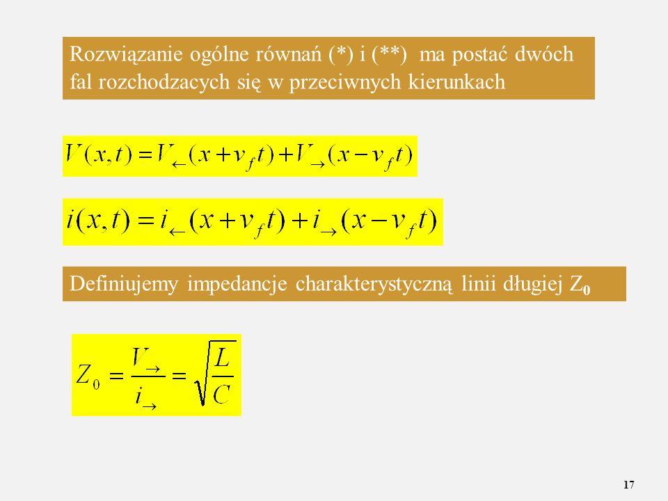 17 Rozwiązanie ogólne równań (*) i (**) ma postać dwóch fal rozchodzacych się w przeciwnych kierunkach Definiujemy impedancje charakterystyczną linii