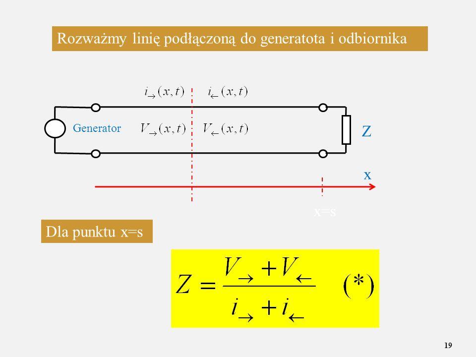19 x=s Rozważmy linię podłączoną do generatota i odbiornika Dla punktu x=s Generator x Z