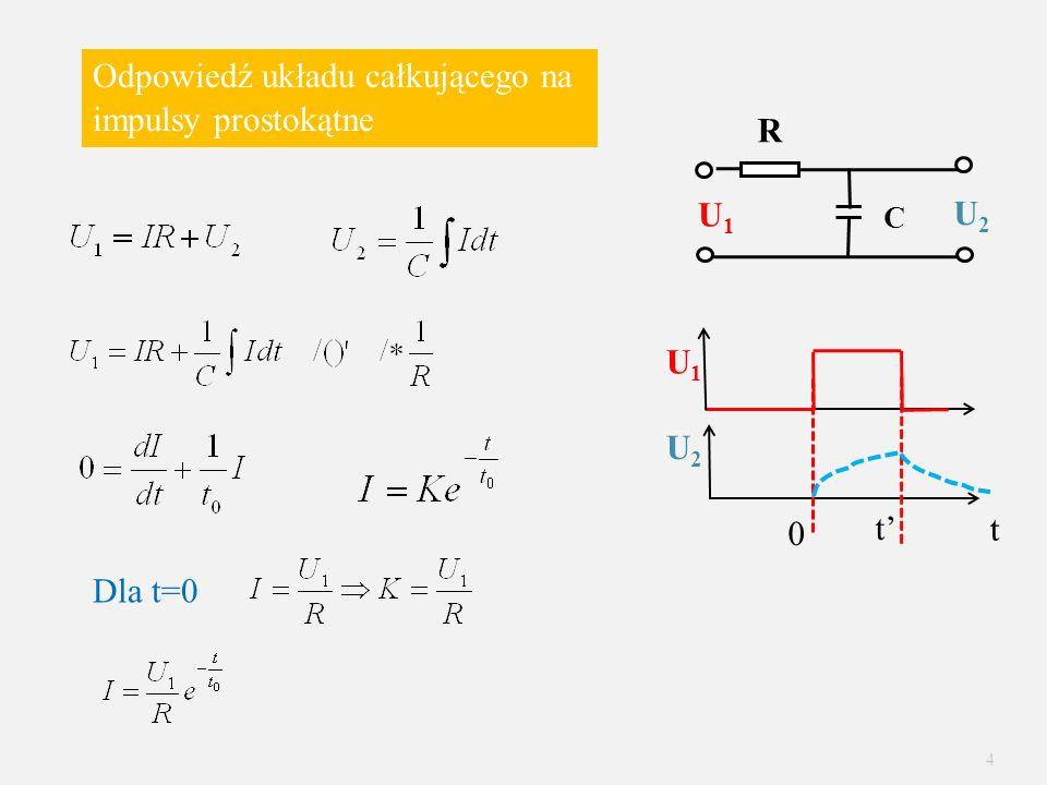 Odpowiedź układu całkującego na impulsy prostokątne 0 t Dla t=0 R C U1U1 t U2U2 U2U2 U1U1 4