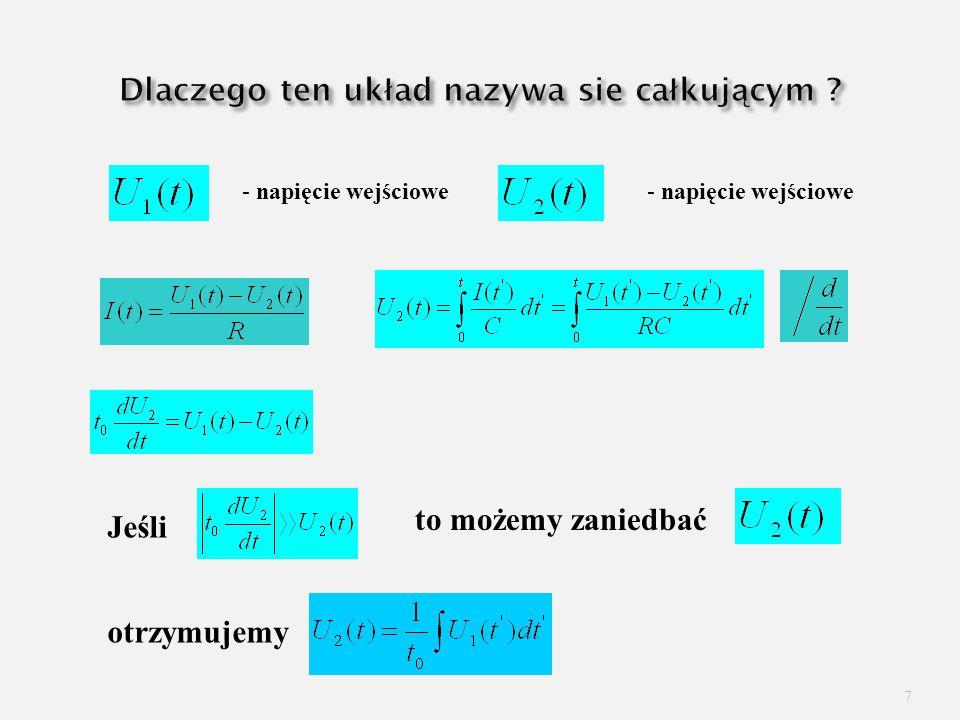 8 Czwórnik Wiena U1U1 C2C2 Filtr pasmowy R2R2 C1C1 U2U2 R1R1 Dla czwórnika symetrycznego C 1 =C 2 R 1 =R 2