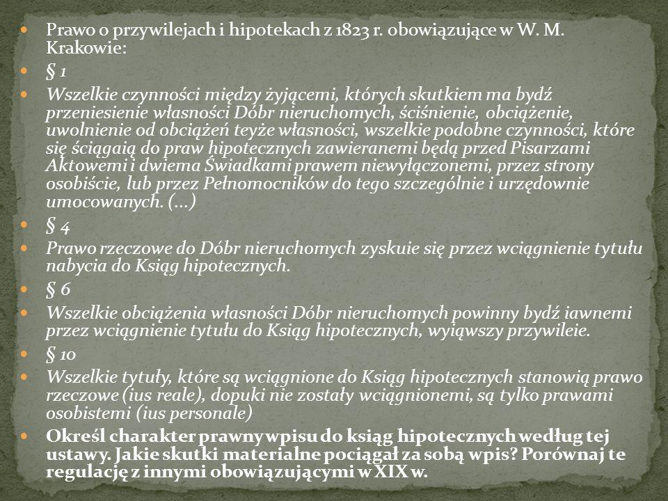 Przeczytaj przepis krakowskiej ustawy hipotecznej z 1823 r.
