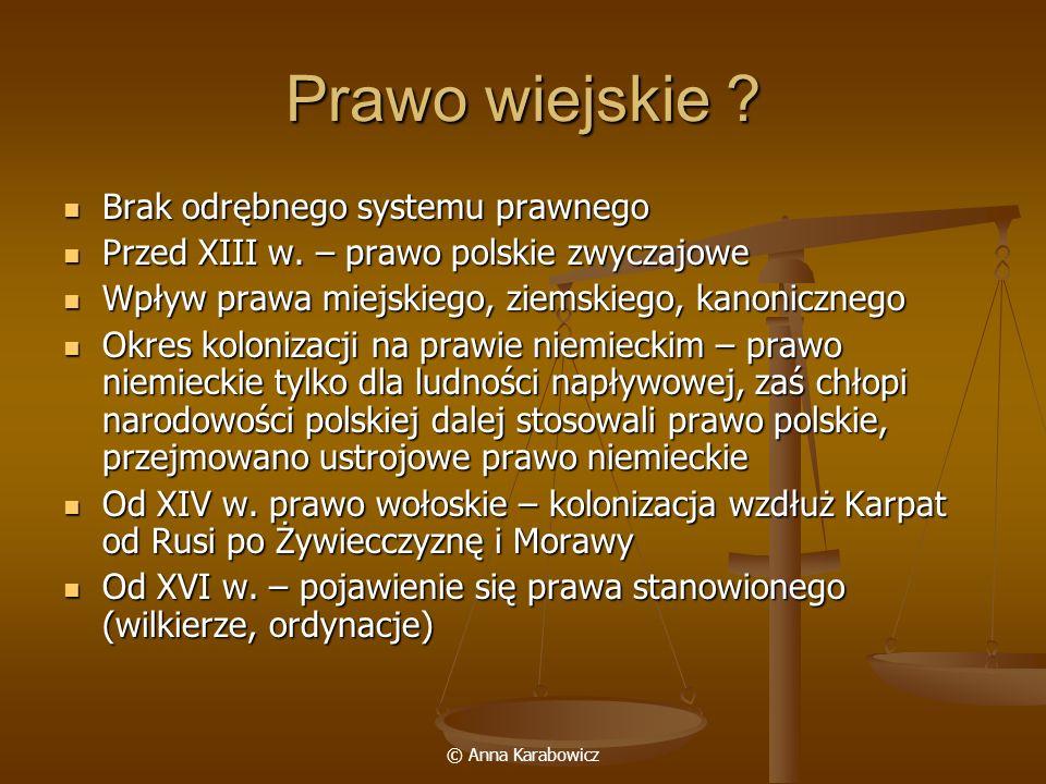 © Anna Karabowicz Prawo wiejskie ? Brak odrębnego systemu prawnego Brak odrębnego systemu prawnego Przed XIII w. – prawo polskie zwyczajowe Przed XIII
