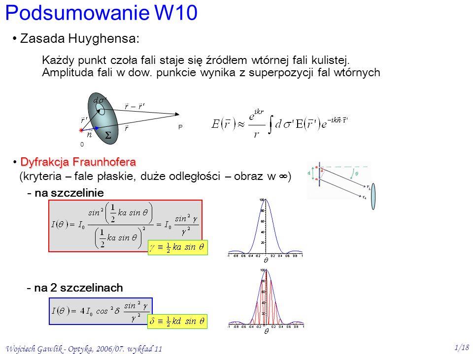 Wojciech Gawlik - Optyka, 2006/07. wykład 11 1/18 Podsumowanie W10 Dyfrakcja Fraunhofera (kryteria – fale płaskie, duże odległości – obraz w ) - na sz