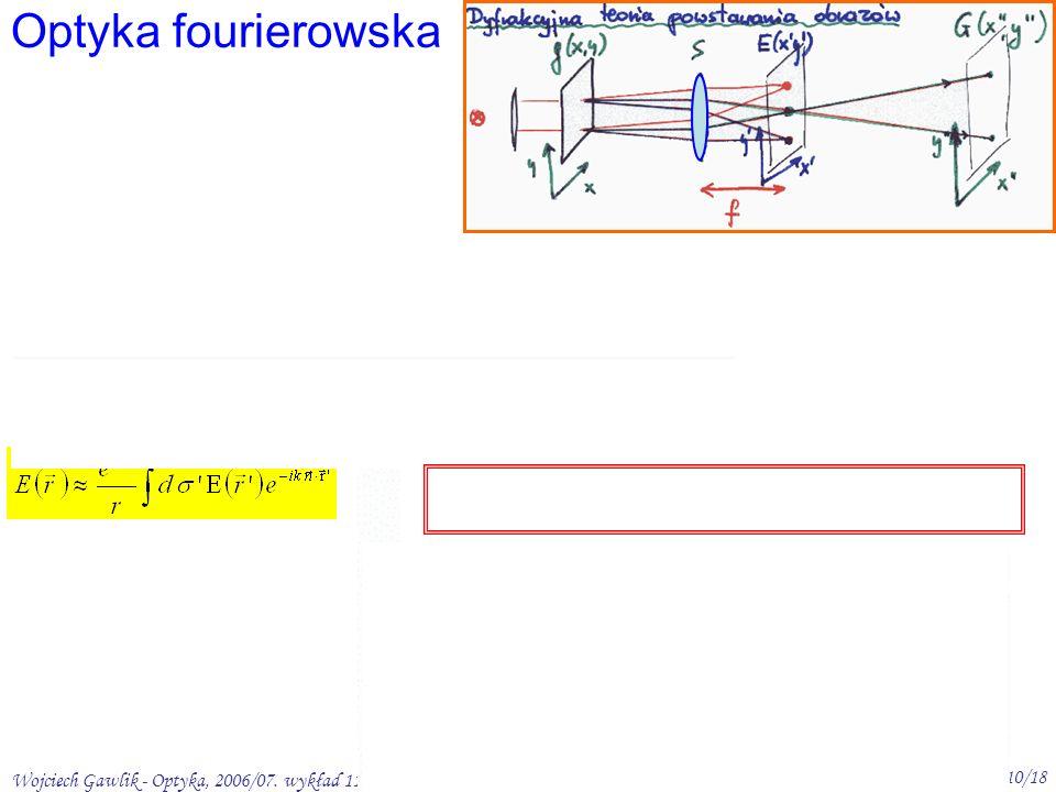 Wojciech Gawlik - Optyka, 2006/07. wykład 11 10/18 Optyka fourierowska